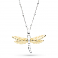 Blossom Flyte Gold Dragonfly Necklace by Kit Heath in Rhodium Plated Sterling Silver with 18ct Gold Plated Detail