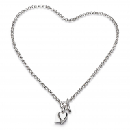 Desire Love Duet Heart T-Bar Necklace by Kit Heath in Rhodium Plated Sterling Silver