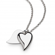 Desire Love Duet Large Heart Necklace by Kit Heath in Rhodium Plated Sterling Silver